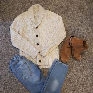 Zara Boys Oatmeal Cable Knit Cardigan Sweater EUC!